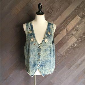 Vintage Acid Wash Jeweled Vest